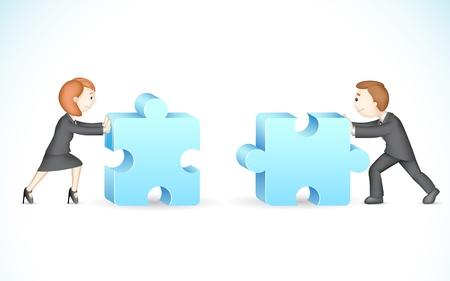 business partnership: illustration of 3d business people in solving jigsaw puzzle