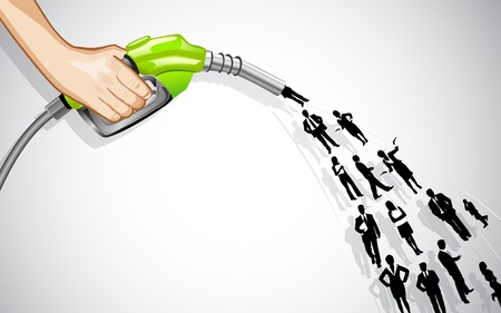 fuel economy: illustration of manpower coming out of petrol nozzle