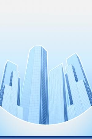 housing development: illustration of high modern building in cityscape template