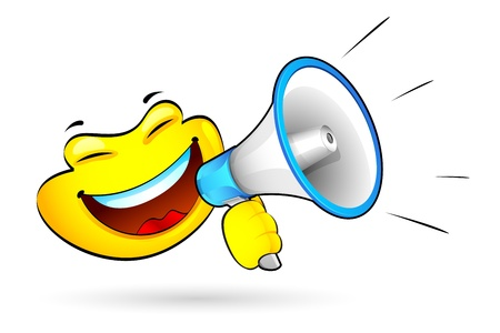 loudspeaker: illustration of smiley announcing on megaphone