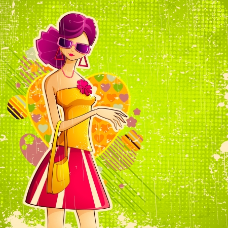 illustration of lady in retro style on colorful grungy background Stock Vector - 14732216