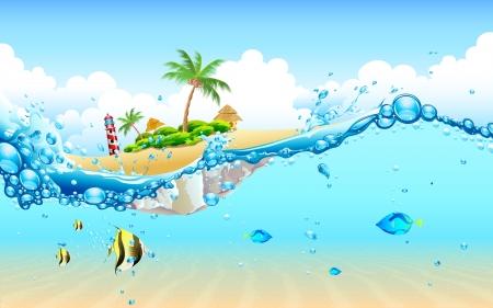 illustratie van uitzicht op eiland van onder water Vector Illustratie