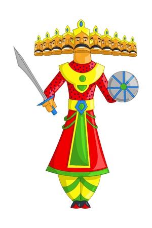 서사시: 세라에 대한 열 머리와 Raavana의 그림 일러스트