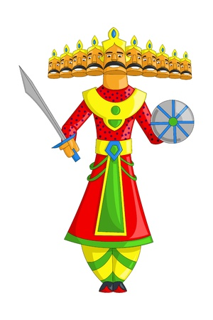 raavana: illustration of Raavana with ten heads for Dussehra