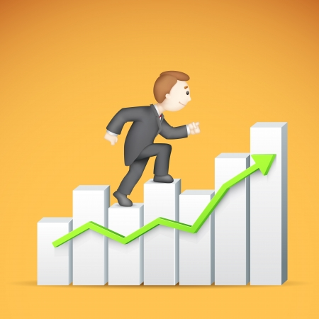 bargraph: illustration of 3d business man in vector climbing bar graph