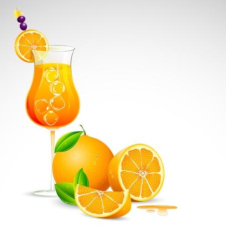 mocktail: illustration of freshy orange juice in mocktail glass Illustration