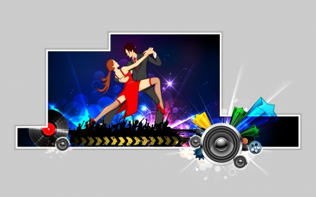 bailarines de salsa: ilustración de bailar salsa pareja realizando en el fondo abstracto