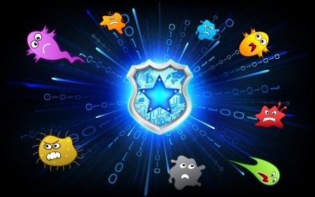 illustration of shield protecting from virus attack Stock Illustration - 14732285