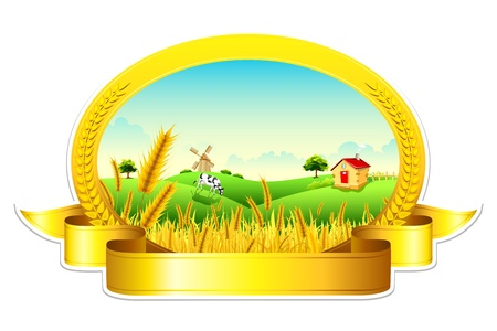 cultivating: illustration of landscape of golden wheat farm showing green revolution