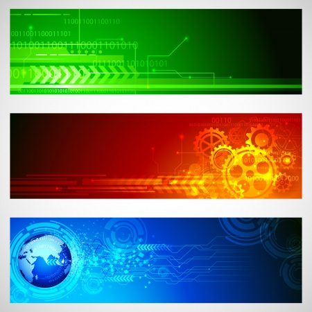 illustration of set of technology banner for designing Vector