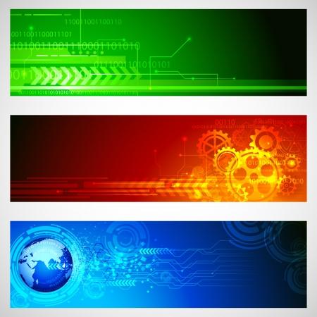 ingenieria industrial: Ilustraci�n del conjunto de la bandera de la tecnolog�a para el dise�o de Vectores