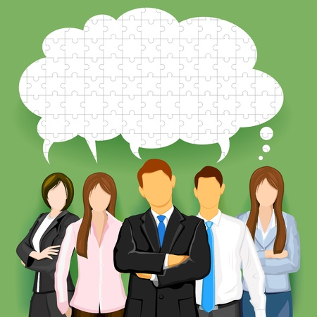 female boss: illustration of business team with chat bubble made of jigsaw puzzle pieces