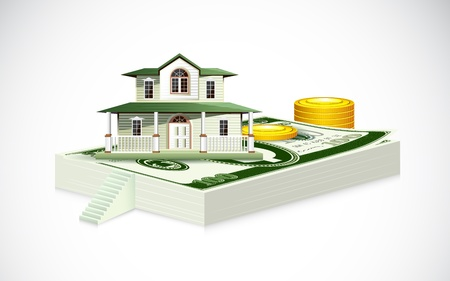 illustration of house on dollar note with gold coin Vector