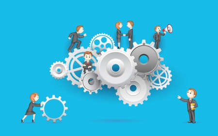 3d manager: illustration of business people on cog wheel showing team work