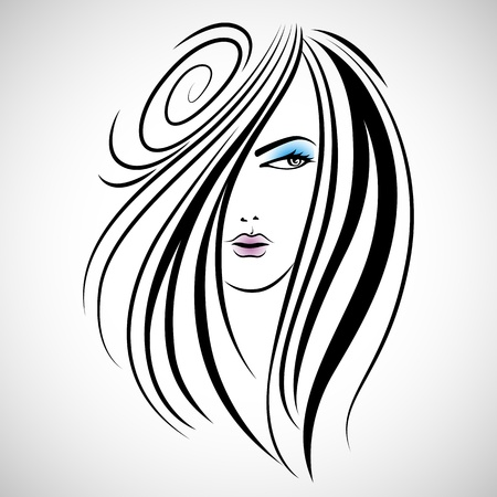 illustration of beautiful lady in with hairstyle Vector