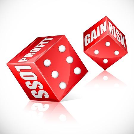 profit and loss: illustrazione di dadi di affari che mostra profitti e perdite