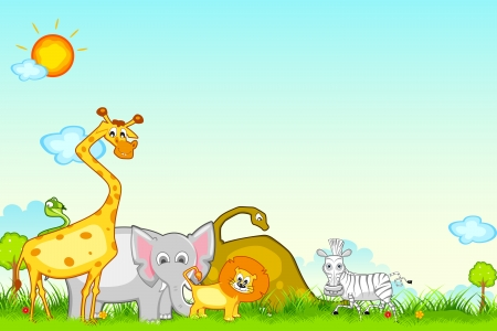 illustration of different animal in jungle safari Vector