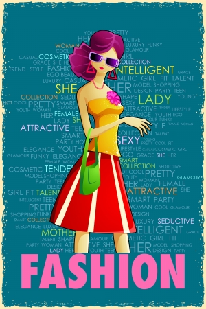 illustration of lady in retro style on colorful grungy background Stock Vector - 14732283