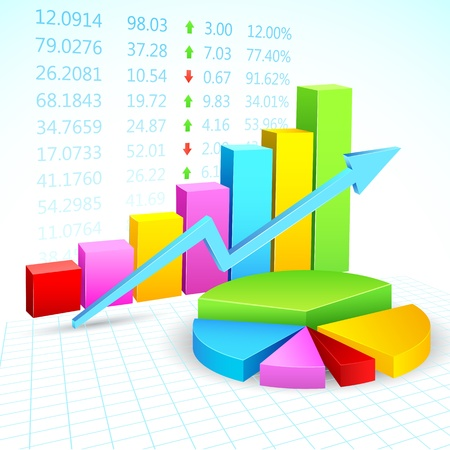 bargraph: illustration of business financial graph with stock listing Illustration