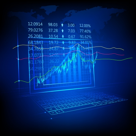 exchange profit: illustration of graph and number showing stock market listing Stock Photo