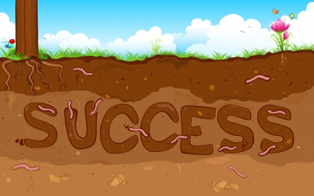 illustration of success word formed under layer of soil Vector