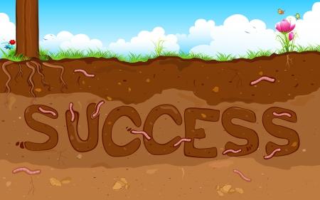 superficie: ilustración de la palabra éxito formado bajo la capa de suelo