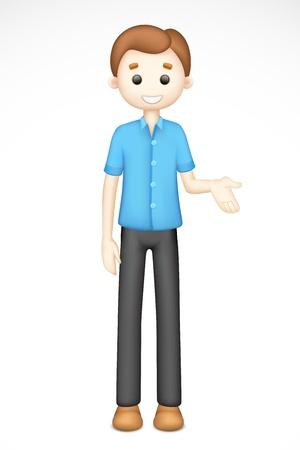 Ilustraci�n del hombre 3d en pie sobre fondo blanco Vectores