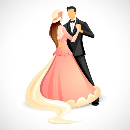 illustration of newly married couple doing ball dance