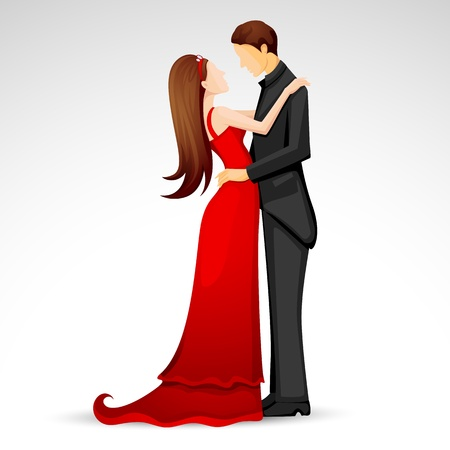 matrimony: illustration of newly married couple in wedding dress