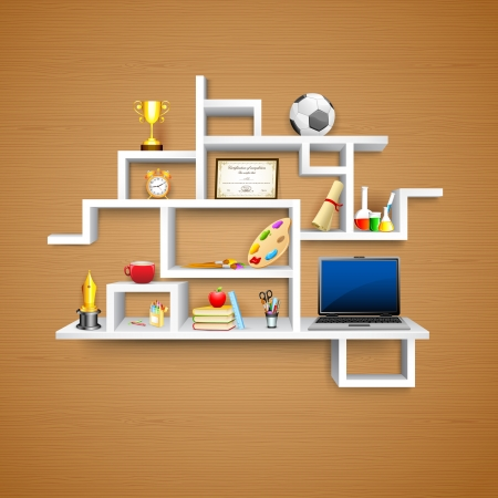 illustration of education object on display shelf Stock Vector - 15196003