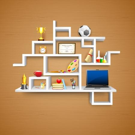 decorando: ilustraci�n del objeto de la educaci�n estante de exhibici�n