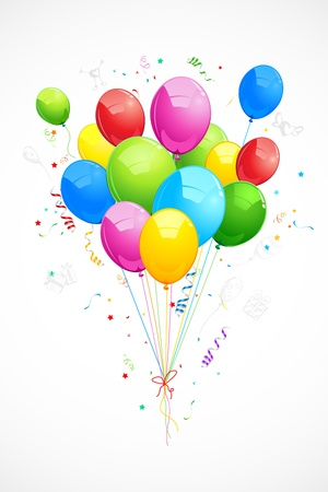 festive occasions: illustration of colorful balloon on abstract background