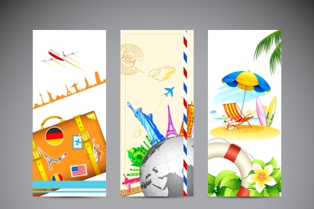 voyage: ilustraci�n de la bandera de los viajes y la fotograf�a de la playa del mar Vectores
