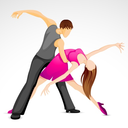 illustration of couple performing samba dance Vector