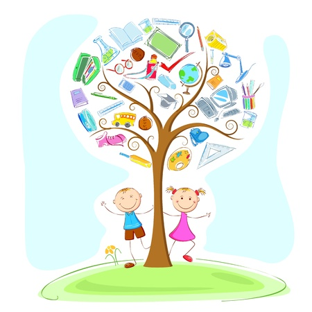 computer science: illustration of kids under education object in wisdom tree