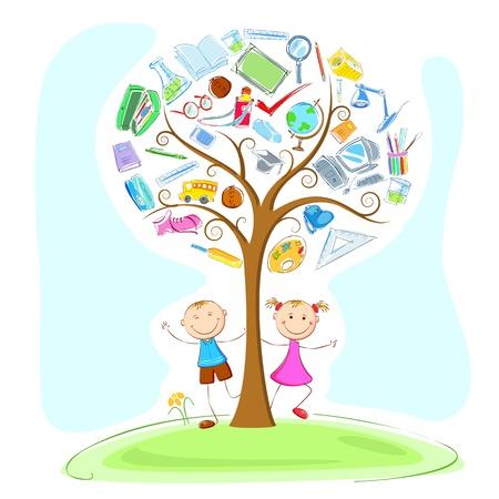 educazione ambientale: illustrazione di bambini al di sotto dell'oggetto dell'istruzione in albero di saggezza