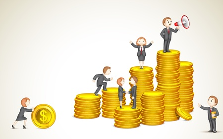 3d manager: illustration of business people on pile of gold coil showing team work