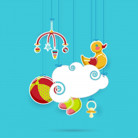 illustration of baby s object hanging with cloud space Vector