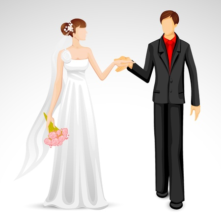 editable sign: illustration of newly married couple in wedding costume Illustration