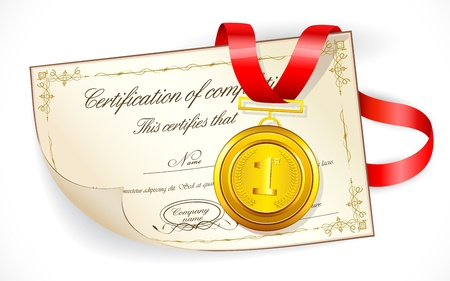 illustration of gold medal on certificate of completion Vector