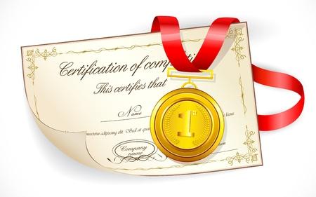 medal ribbon: illustration of gold medal on certificate of completion