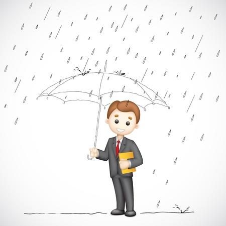 sotto la pioggia: illustrazione di uomo d'affari 3d sotto l'ombrello nel giorno di pioggia Vettoriali