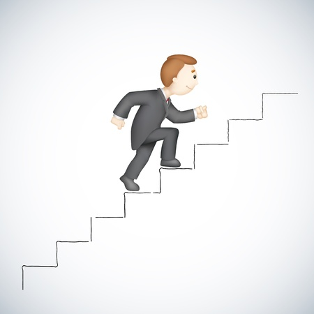 illustration of 3d business man in  climbing success stair Vector