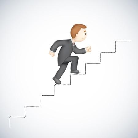 subiendo escaleras: ilustración del hombre de negocios 3d en escalada escalera éxito