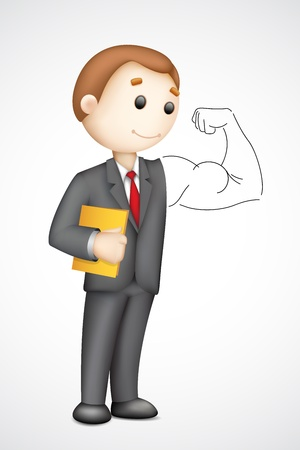 illustration of 3d business man in  showing biceps Vector