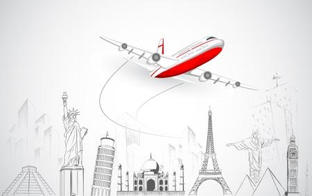viajes: Ilustración de avión volando sobre boceto del monumento famoso