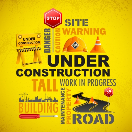 mending: illustration of under construction word cloud with object Illustration