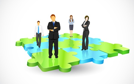consultants: illustration of business people standing on pieces of jigsaw puzzle