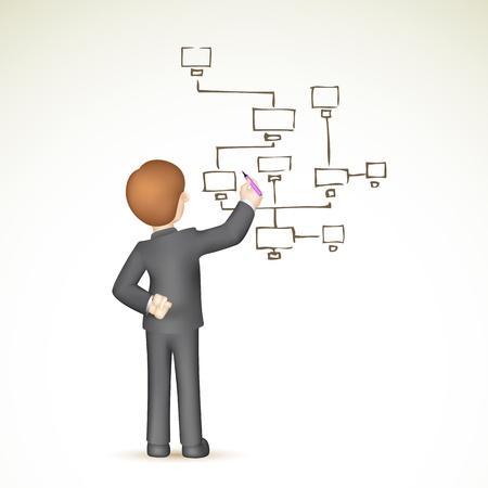 diagrama de procesos: ilustración del hombre de negocios 3d en la elaboración de diagrama de flujo