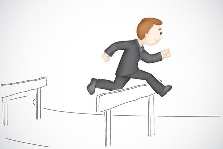 hurdle: illustration of 3d business man in  running in hurdle